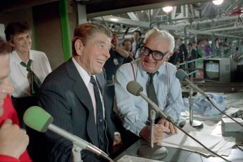 9/30/1988 President Reagan in the press box with Harry Caray during a Chicago Cubs and Pittsburgh Pirates baseball game at Wrigley Field in Chicago