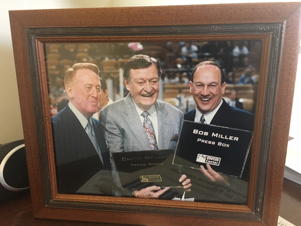 photo of Vin Scully, Chick Hearn, Bob Miller